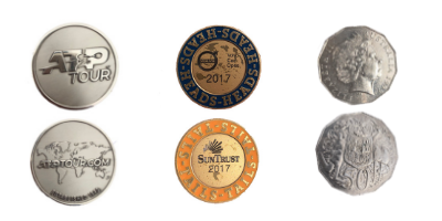 Coins used for tossing at Indian Wells BNP Paribas