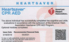 CPR AED American Heart Association card