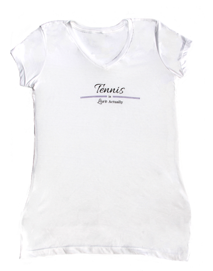 Tennis is Love Actually T-shirt White with purple