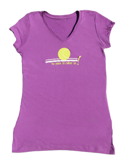 No Place V-neck 100% cotton T-shirt in Purple
