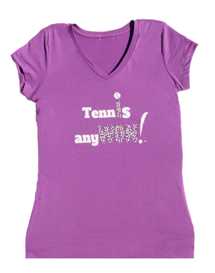 Tennis AnyWon Orchid Cotten V-neck T-Shirt