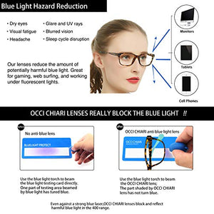 OCCI CHIARI Progressive Multifocus Women Rectangle Reading Glasses Anti Blue Light Reader 1.0 1.5 -6.0