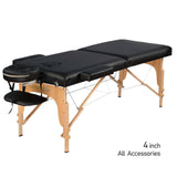 "2-Section 4""  Wooden Super Stable Portable Massage Table - MTW121 - Greenlife"