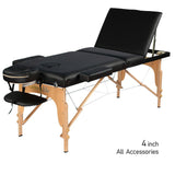 "3-Section 4"" Wooden Super Stable Portable Massage Table - MTW131"