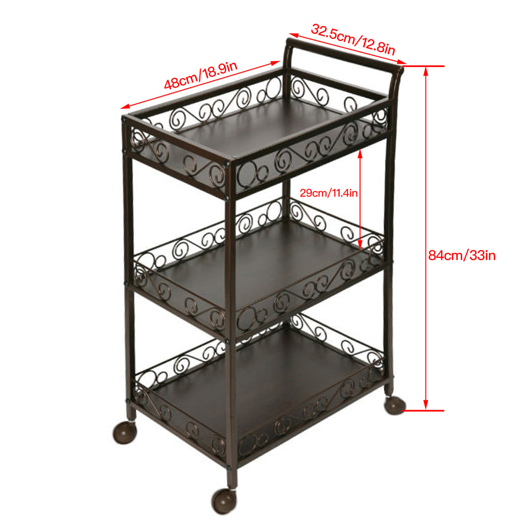 Beauty Metal Frame Three Shelves Trolley - ST501