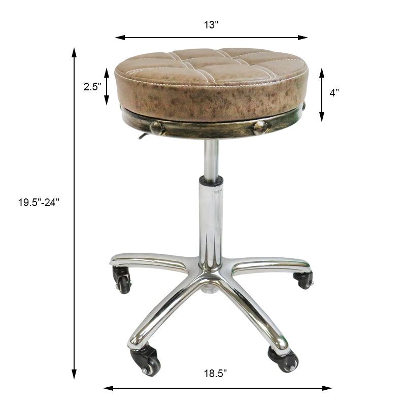 Choice Hydraulic Adjustable Rolling Stool in Chrome - RS291