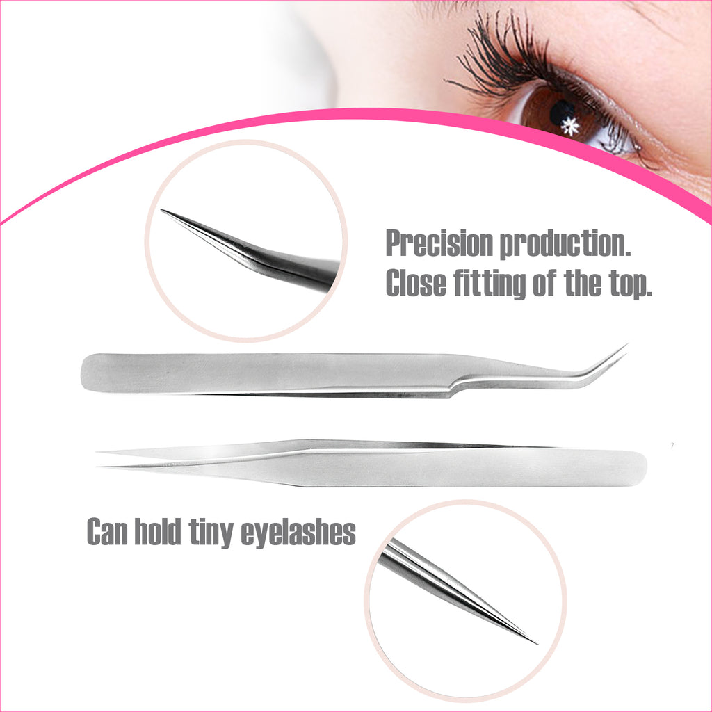 2PC Eyelash Tweezers kit (Silver)