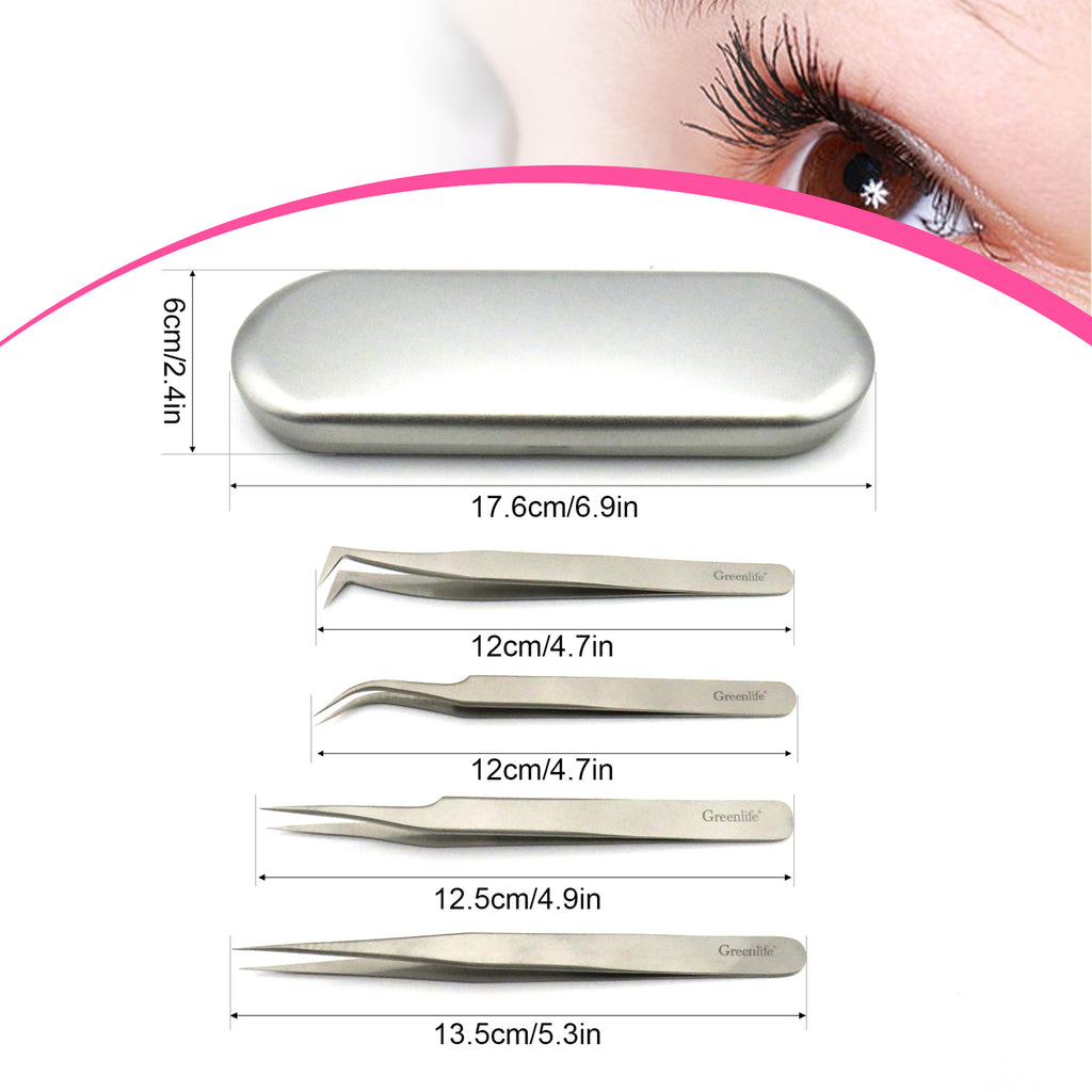 4PC Eyelash Tweezers kit (Silver)