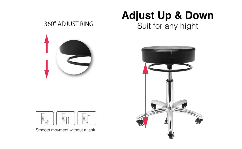 Deluxe Hydraulic Adjustable Height Rolling Stool - RSWAR561