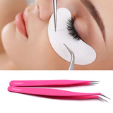 2pc Stainless Steel Versatile Eyelash Straight and Curved Tip Tweezer Set
