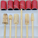 6pcs Nail Drill Bits kit Gold Carbide with 6 Rings files set A