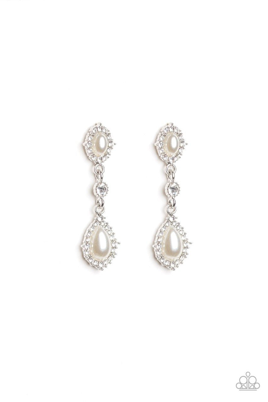 Paparazzi Earring ~ All-Glowing - White
