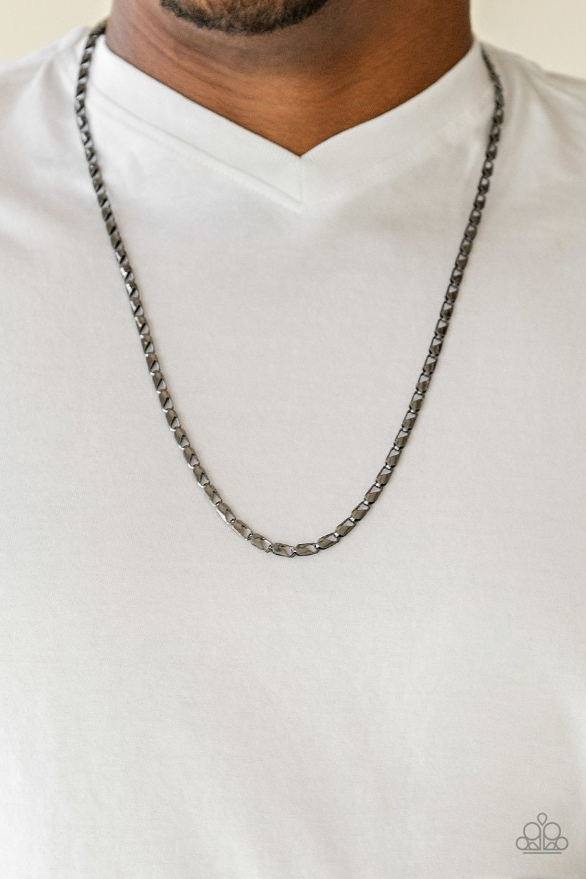 Men's Paparazzi Necklace ~ Free Agency - Black