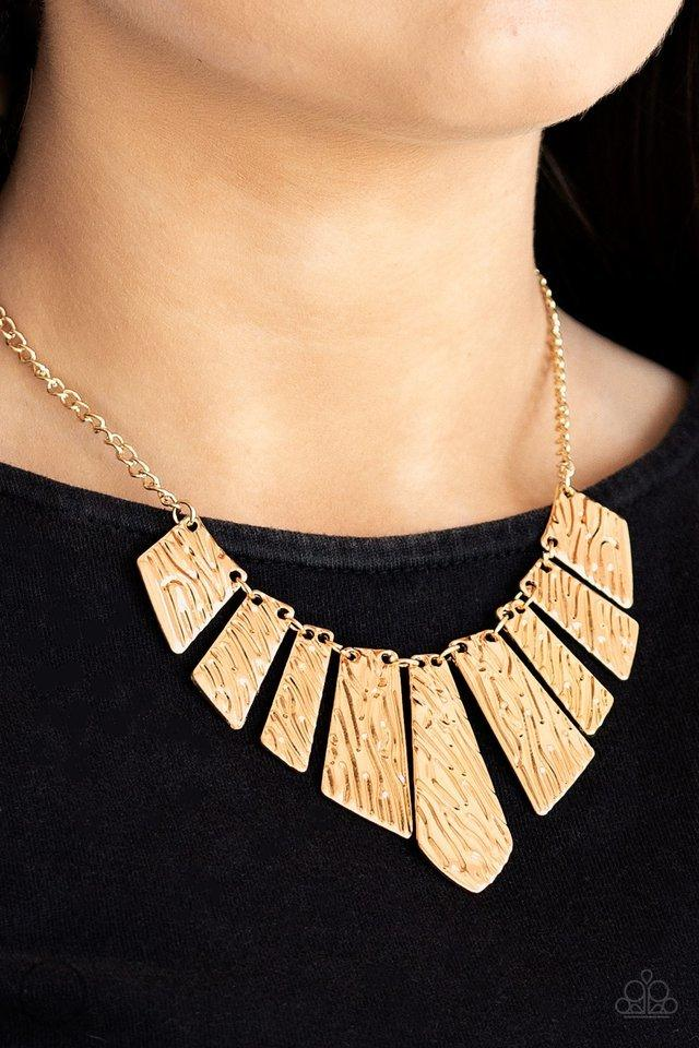 Paparazzi Necklace ~ Texture Tigress - Gold