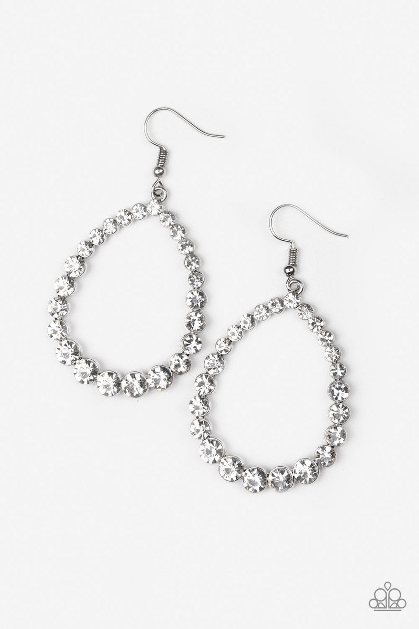 Paparazzi Earrings - Rise and Sparkle - White