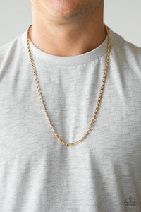 Men's Paparazzi Necklace ~ Free Agency - Gold
