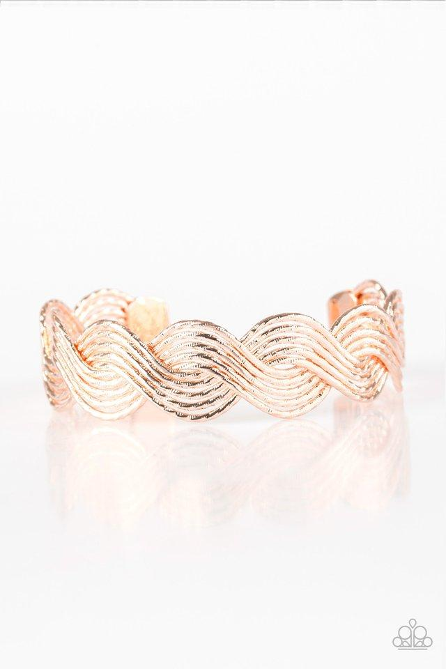 Paparazzi Accessories ~ Braided Brilliance - Rose Gold