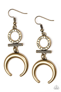 Majestically Moon Child - Brass - Paparazzi Earring Image