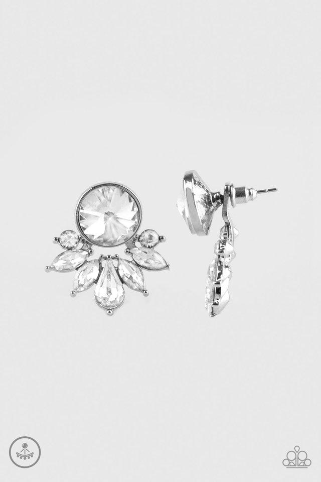Paparazzi Earrings - Radically Royal - White