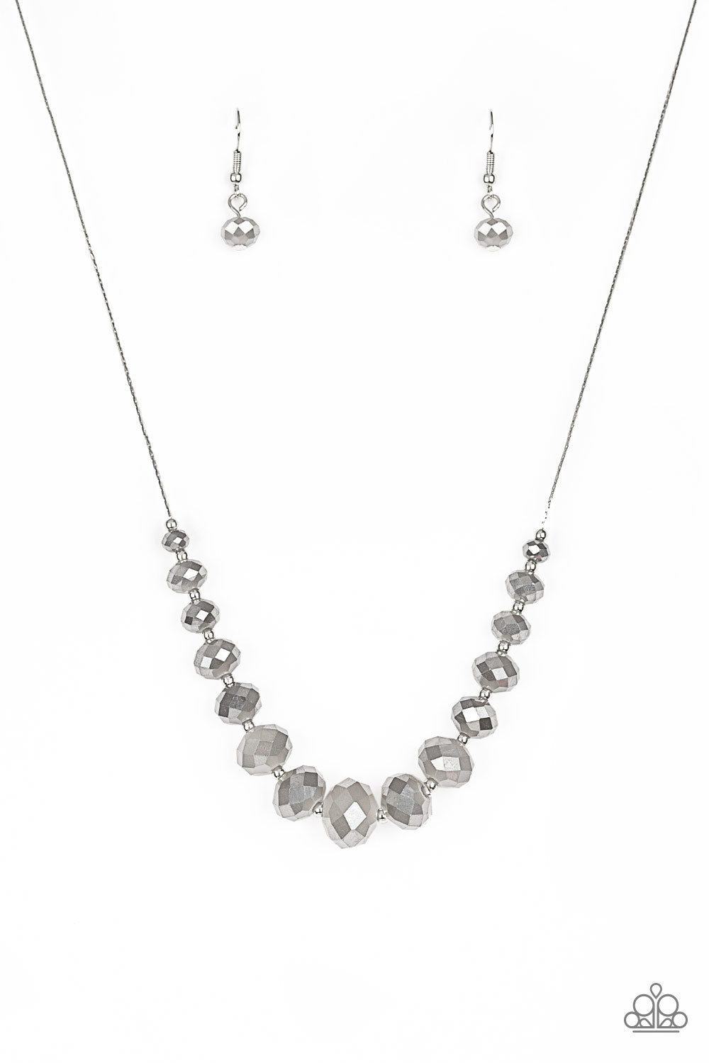 Paparazzi Necklace ~ Crystal Carriages - Silver