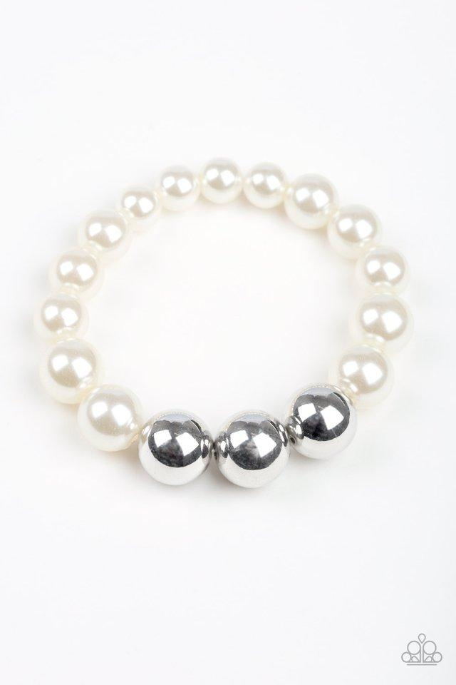 Paparazzi Bracelet ~ All Dress UPTOWN - White