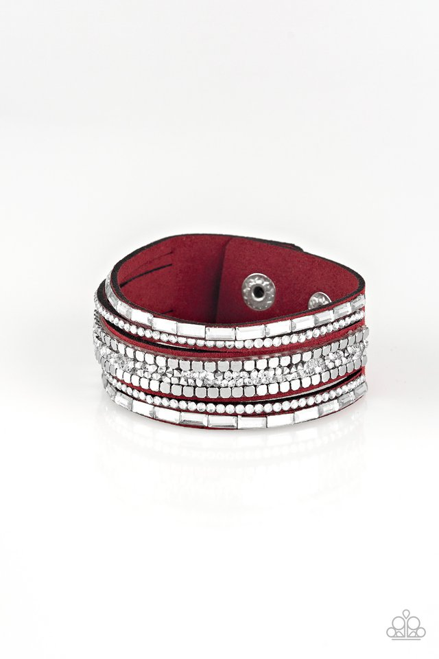 Paparazzi Bracelet ~ Rebel In Rhinestones - Red