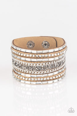 Rhinestone Rumble - Brown - Paparazzi Bracelet Image