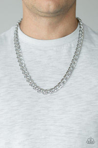 Men's Paparazzi Necklace ~ Undefeated - Silver