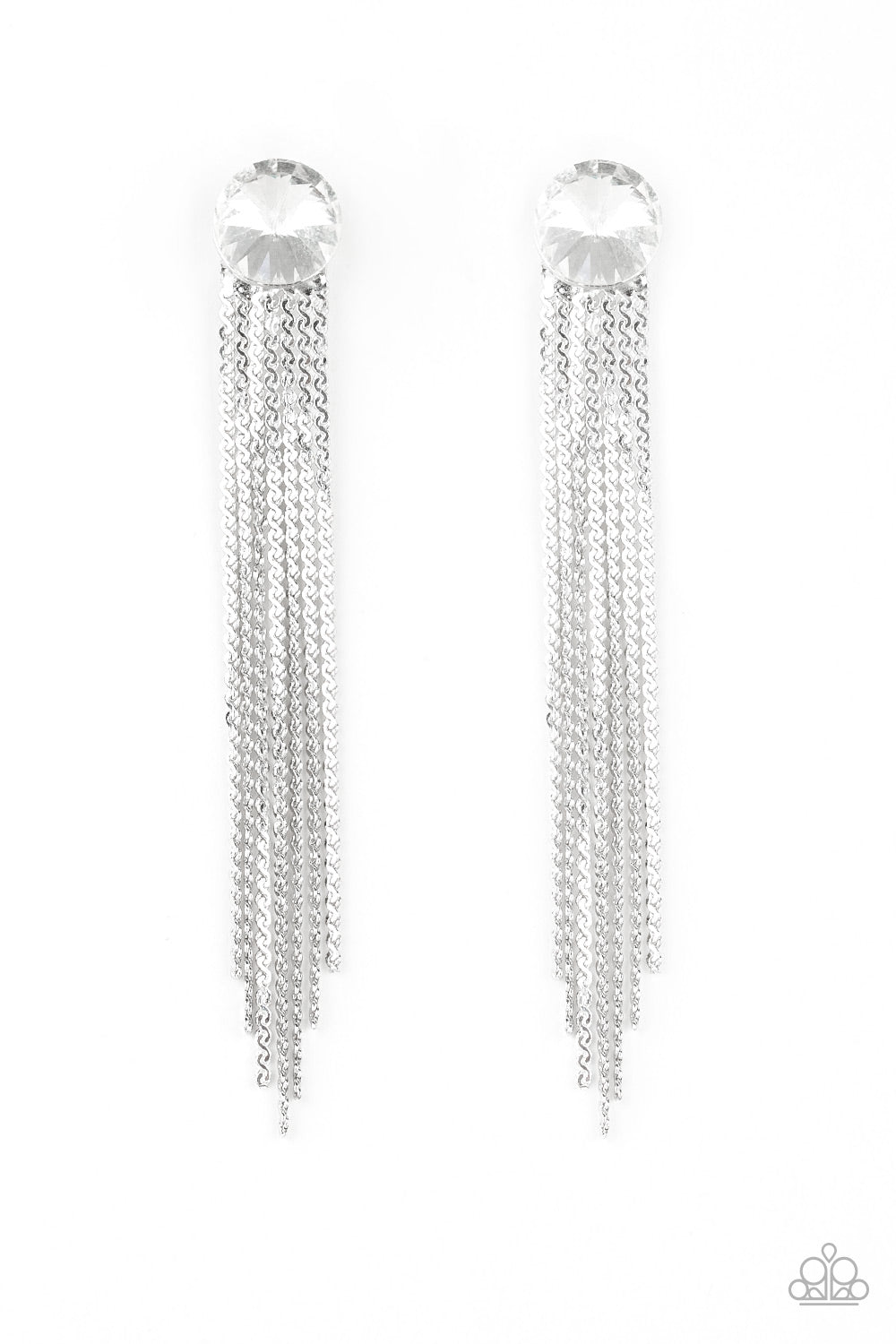 Paparazzi Earring ~ Level Up - White