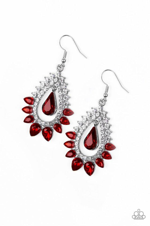 Paparazzi Earring ~ Boss Brilliance - Red