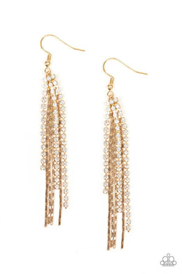 Red Carpet Bombshell - Gold - Paparazzi Earring Image