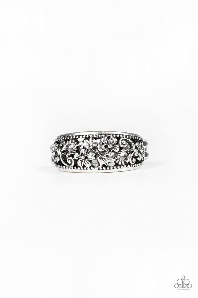 Paparazzi Ring ~ Breezy Blossoms - Silver