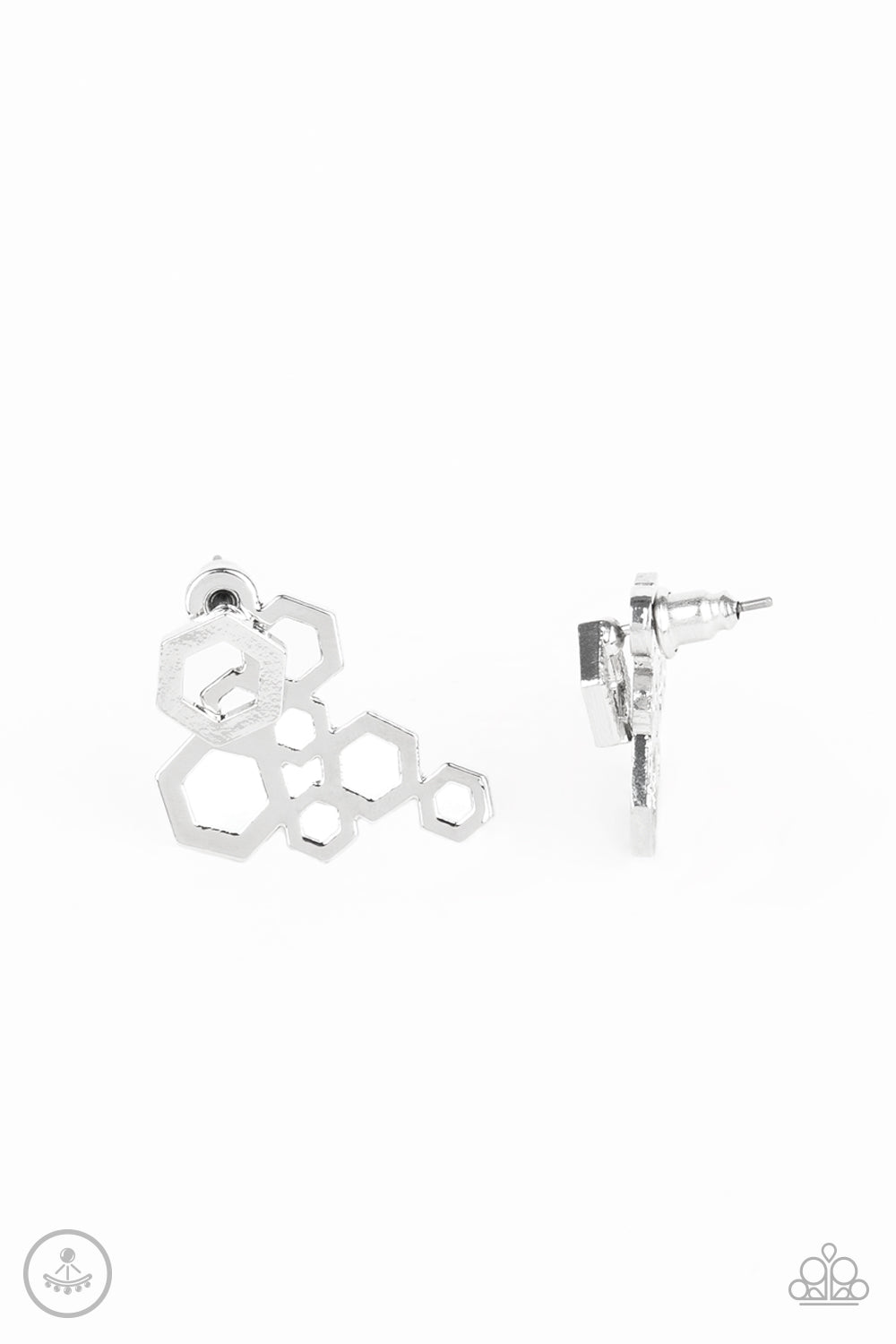Paparazzi Earring ~ Six-Sided Shimmer - Silver