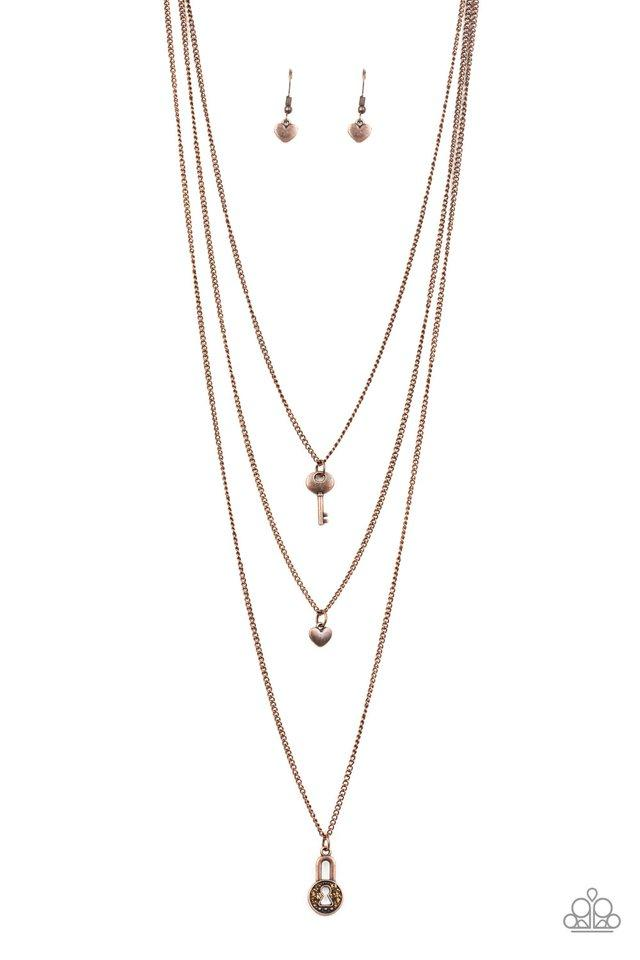 Paparazzi Accessories ~ Secret Heart - Copper