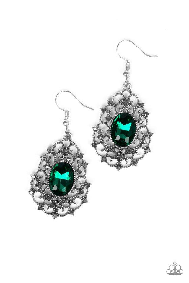 Paparazzi Earring ~ Regal Razzle - Green