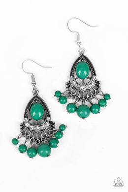 Floating On HEIR - Green - Paparazzi Earring Image