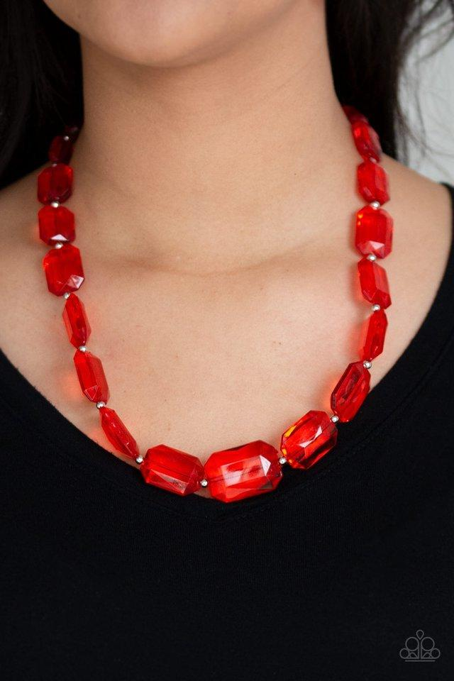 Paparazzi Necklace ~ ICE Versa - Red