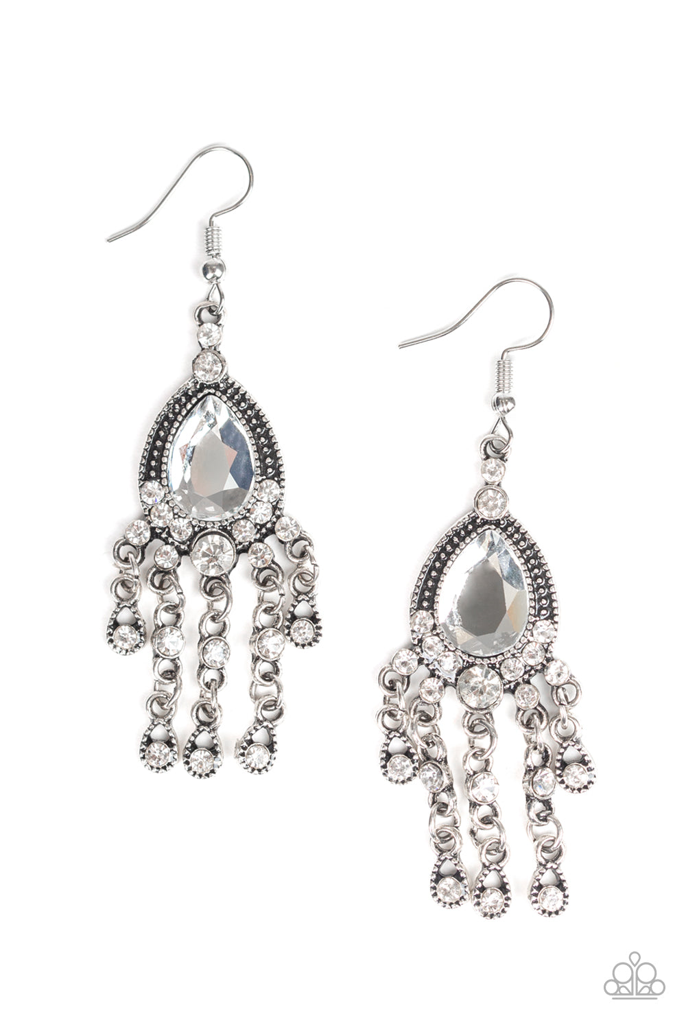 Paparazzi Earring ~ Bling Bliss - White