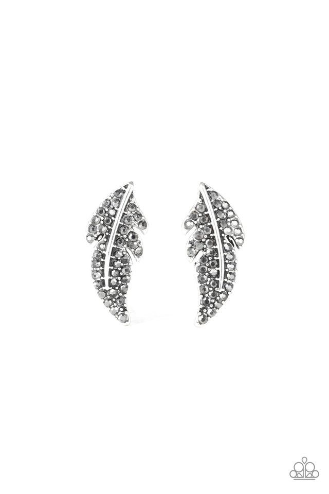 Paparazzi Earring ~ Feathered Fortune - Silver