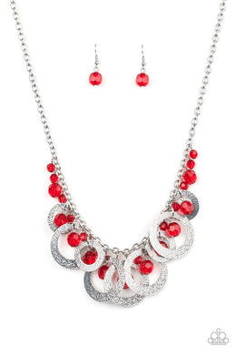 Turn It Up - Red - Paparazzi Necklace Image