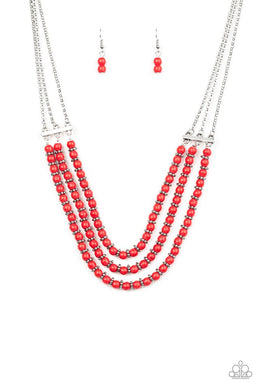 Terra Trails - Red - Paparazzi Necklace Image