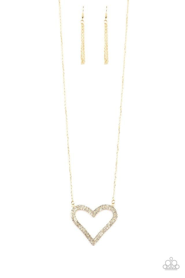 Paparazzi Necklace ~ Pull Some HEART-strings - Gold