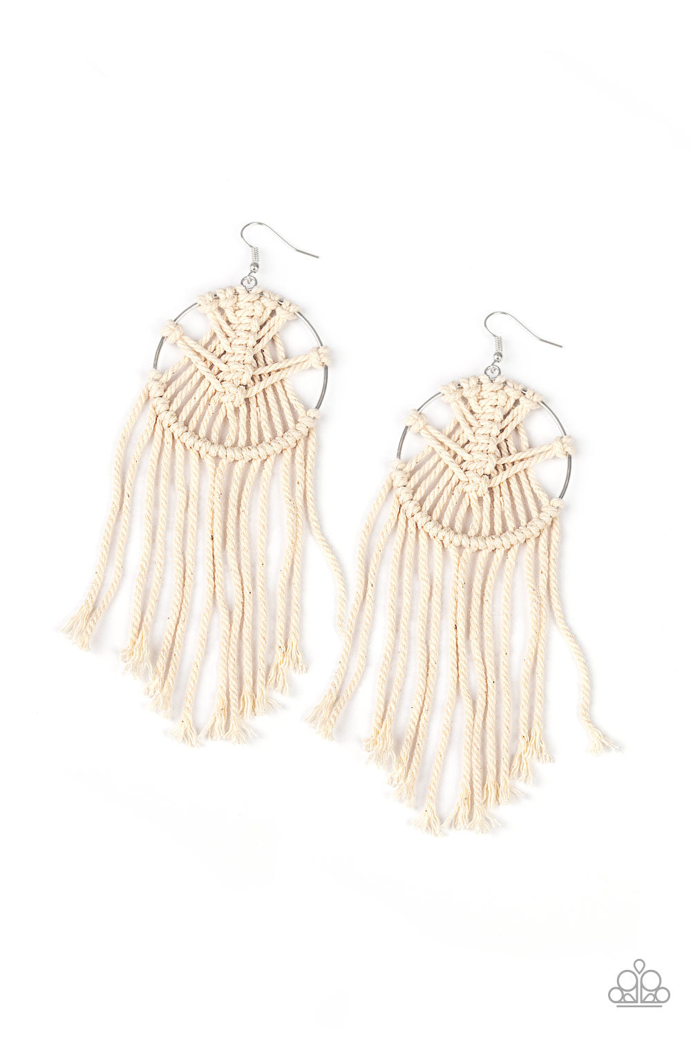 Paparazzi Earring ~ MACRAME, Myself, and I - White