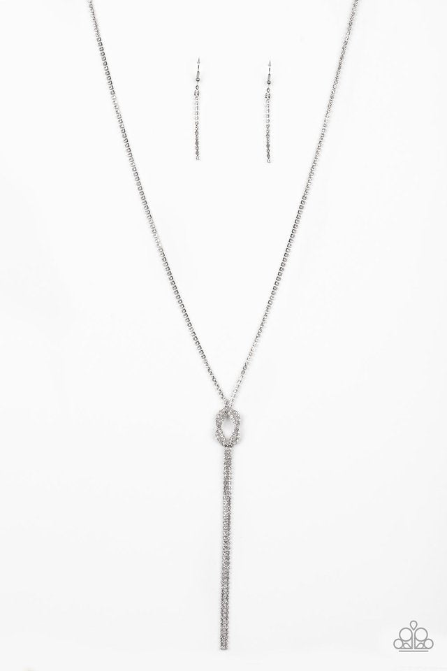 Paparazzi Necklace ~ Knockout Knot - White