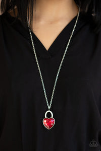Paparazzi Necklace ~ Locked in Love - Red