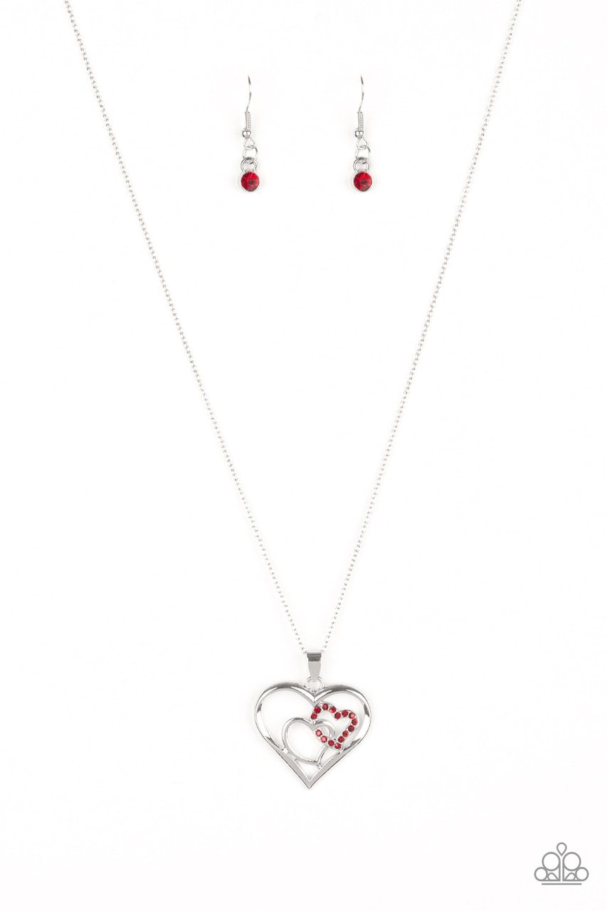 Paparazzi Necklace ~ Cupid Charm - Red