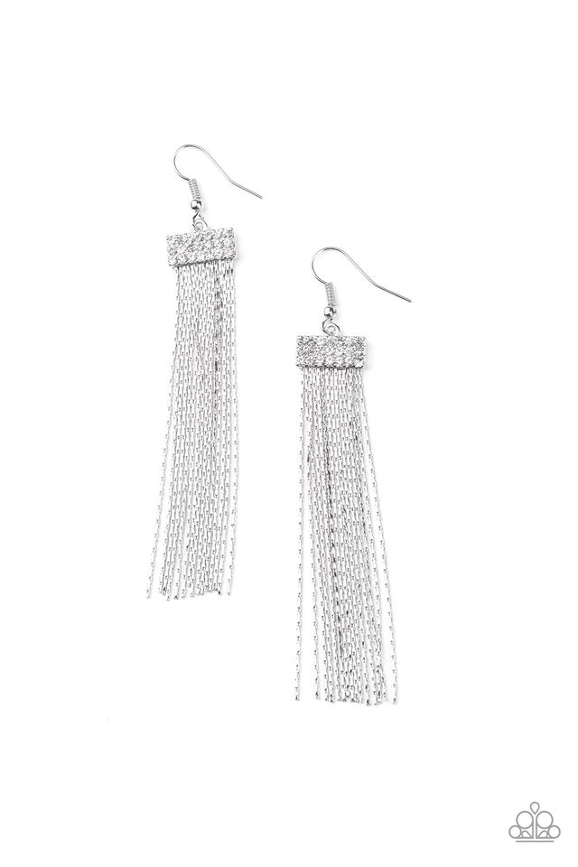 Paparazzi Earring ~ Twinkling Tapestry - White