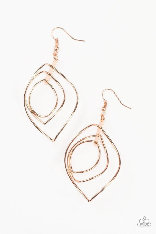 Paparazzi Earring ~ Asymmetrical Allure - Copper