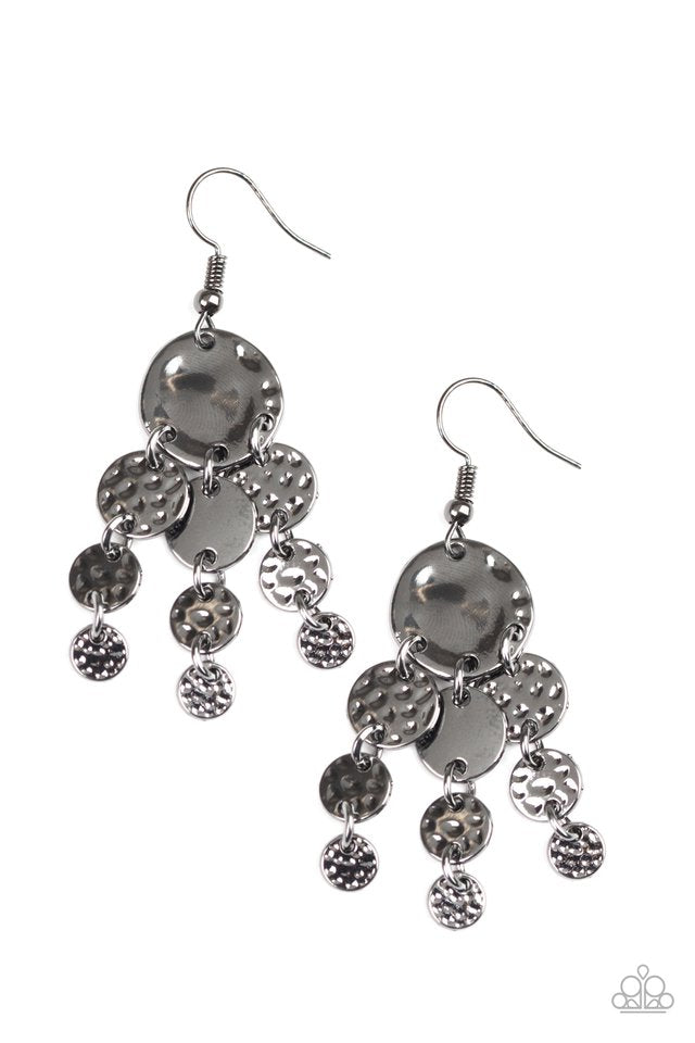 Paparazzi Earring ~ Do Chime In - Black