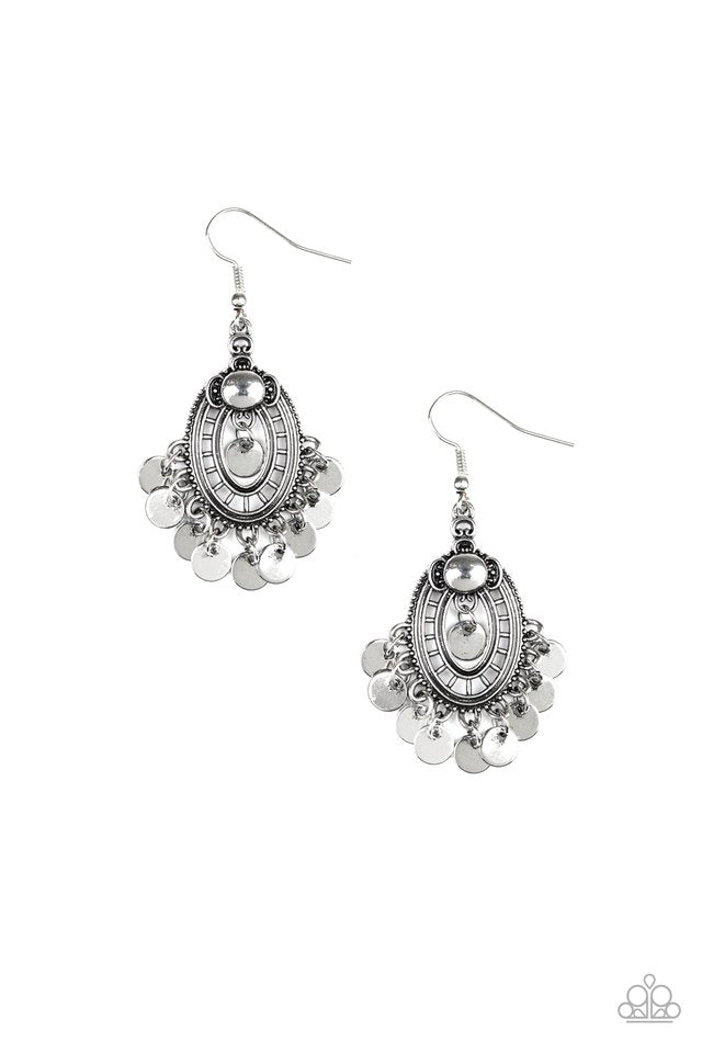 Paparazzi Earring ~ Chime Chic - Silver
